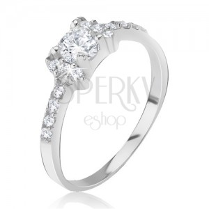 Stříbrný prsten 925 - vykládaná mašlička, blyštivé čiré zirkony