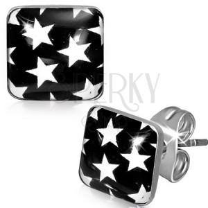 Náušnice z oceli - černé čtverce s bílými hvězdami
