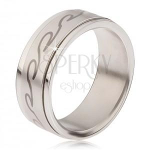 Prsten z chirurgické oceli - matná točící se obruč, potisk zaoblených vln