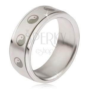 Prsten z chirurgické oceli - matná točící se obruč, potisk jin a jang