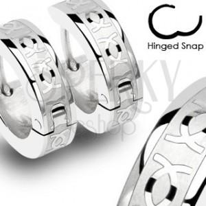 Kruhové ocelové náušnice - stříbrné, lesklé prolínající se CC