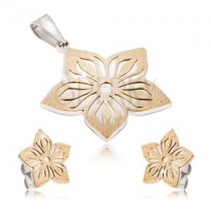 Dvojbarevná ocelová sada - náušnice a přívěsek, vyřezávaný pískovaný květ