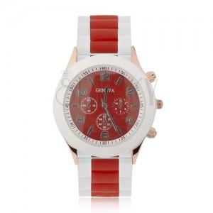 Náramkové hodinky - červený ciferník, silikonový řemínek