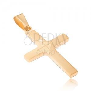 Přívěsek z chirurgické oceli zlaté barvy, matný latinský kříž, lesklá šipka