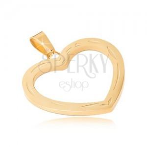 Přívěsek z chirurgické oceli zlaté barvy, gravírovaná kontura srdce