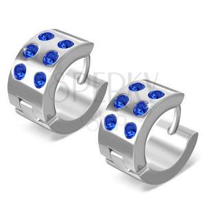 Kruhové náušnice z chirugické oceli - lesklé stříbrné, modré zirkony