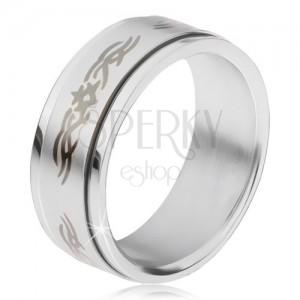 Ocelový prsten, matná točící se obruč s ornamentem
