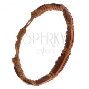 Náramek na ruku - čokoládově hnědé a jeden skořicový pás, hnědé šňůrky