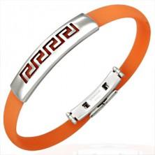 Silikonový náramek - řecký symbol, oranžový