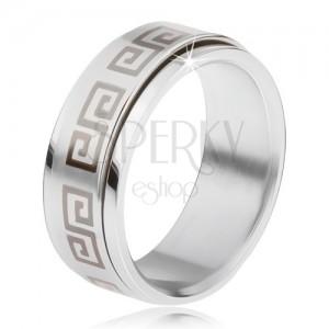 Ocelový prsten, točící se matná obruč, řecký klíč šedé barvy