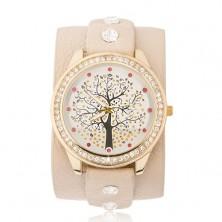 Náramkové hodinky, béžový remienok, číre a červené zirkóny, strom