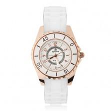 Analógové hodinky zlatej farby, biely silikónový náramok