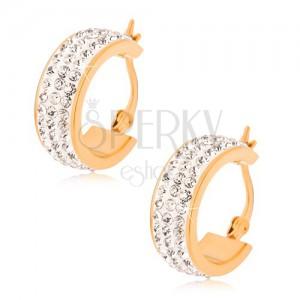 Ocelové náušnice, zlaté kruhy se zirkonovým středovým pásem
