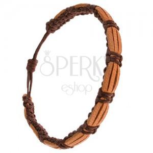 Náramek, čokoládově hnědý řemínek, pískově hnědé pásy kůže