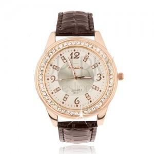 Ocelové hodinky zlatorůžové barvy, lesklý hnědý řemínek, zirkony