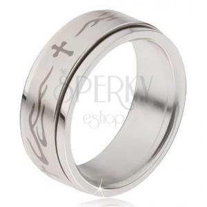 Prsten z oceli, matná točící se obruč, kříž a plameny