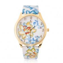 Náramkové hodinky zlatej farby, modro-žltý motív kvetov