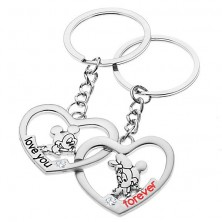 Oceľové kľúčenky pre dvojicu - Mickey a Minnie v srdciach