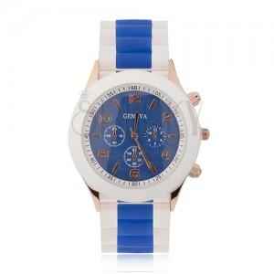 Náramkové hodinky, modrý ciferník, silikonový řemínek