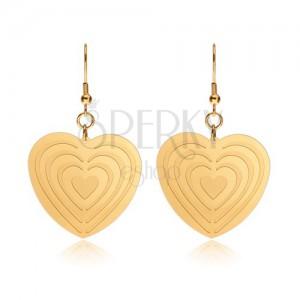 Ocelové náušnice zlaté barvy, symetrická srdce se zářezy