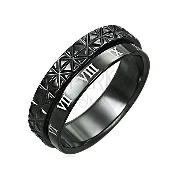 Prsten z chirurgické oceli - dvojitý - římské číslice