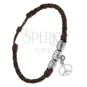 Náramek - čokoládově hnědý pletenec, ozdobné válečky, znak Peace