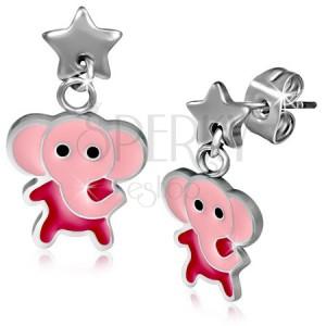 Ocelové náušnice, růžový slon a hvězda