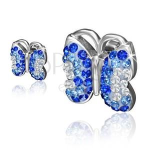 Ocelové náušnice, motýl s modrými a čirými kamínky
