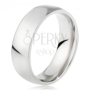 Ocelový prsten s lesklým stříbrným povrchem, 6 mm