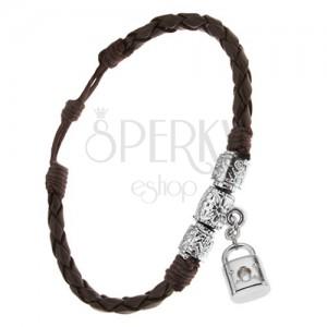 Čokoládově hnědý pletený náramek, ozdobné válečky, visací zámek