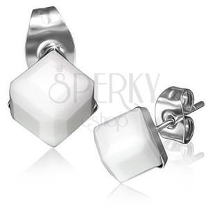 Ocelové náušnice - bílý broušený kamínek, kostka