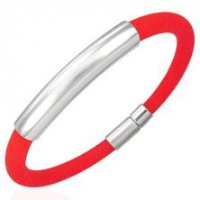 Kulatý silikonový náramek s hladkou známkou, červený