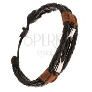 Náramek - tři pletené černé proužky, rourka s výřezem, hnědá šňůrka