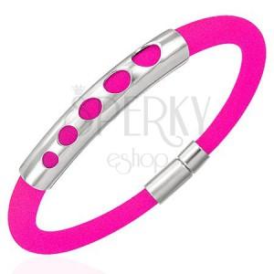 Kaučukový náramek - 5 zvětšujících se kruhů, zářivě růžový