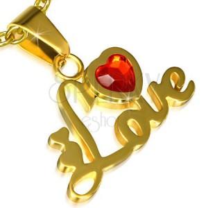 Ocelový přívěsek zlaté barvy, nápis Love, srdce, červený kamínek