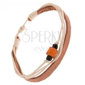 Náramek - pás kůže barvy khaki, šňůrky, korálky, oranžový váleček