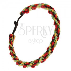 Spirálový náramek - červené, žluté, zelené a černé šňůrky