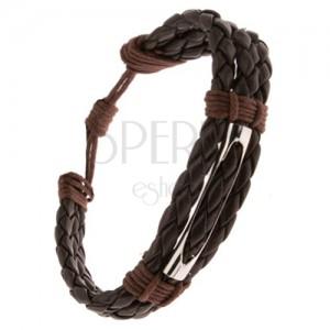 Náramek - tři tmavě hnědé pletence, čokoládově hnědá šňůrka, rourka