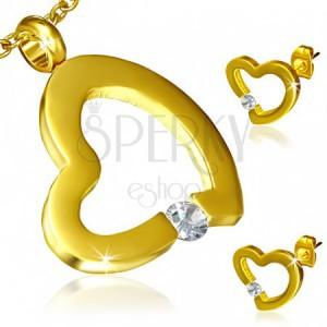 Zlatá sada z oceli - náušnice a přívěsek, nepravidelný obrys srdce, zirkon