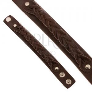 Čokoládově hnědý kožený náramek, copánkově zaplétaný pás