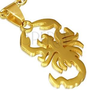 Ocelový přívěsek, lesklý zlatý škorpion