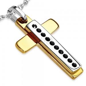 Přívěsek z oceli - zlatý kříž, stříbrný obdélník s černými kamínky