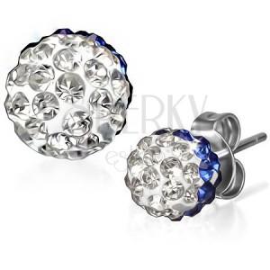 Blyštivé ocelové náušnice - modro-čiré zirkonové kuličky