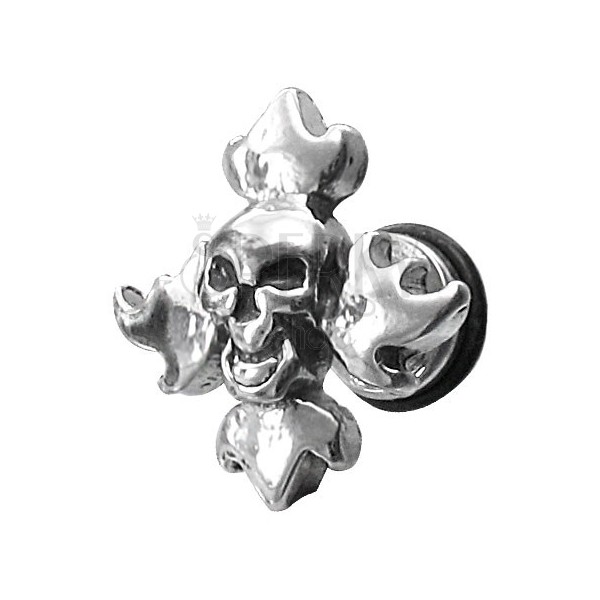 Falešný piercing lebka s plameny
