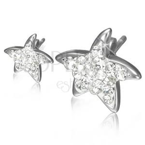Puzetové ocelové náušnice - čiré zirkonové hvězdice