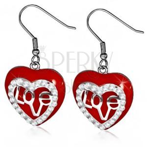 Náušnice z chirurgické oceli - visací červené srdce, čiré zirkony