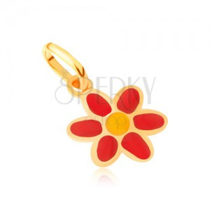 Zlatý přívěsek 375 - lesklý plochý červenožlutý glazovaný květ