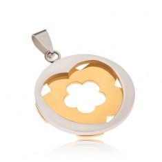 Ocelový přívěsek - stříbrný kruh se srdcovitým výřezem, zlatý květ S32.30