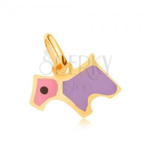 Zlatý přívěsek 375 - blyštivý plochý růžovo-fialový glazovaný psík