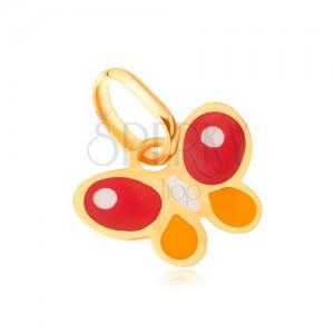 Lesklý zlatý přívěsek 375 - plochý vícebarevný glazovaný motýlek